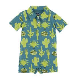 Kickee Pants Print S/S Polo Romper Seagrass Cactus
