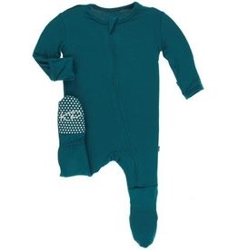 Kickee Pants Solid Footie with Zipper Oasis
