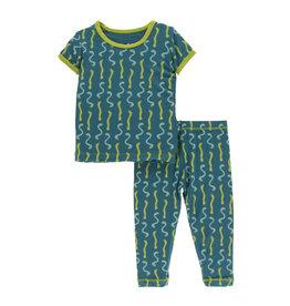 Kickee Pants Print S/S with Pant Pajama Set Oasis Worms
