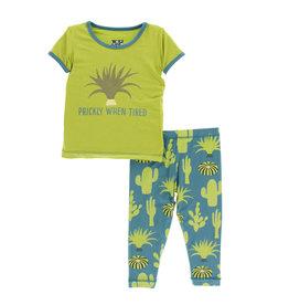 Kickee Pants Print S/S Pajama Set Seagrass Cactus