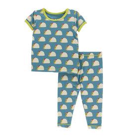 Kickee Pants Print S/S Pajama Set Seagrass Tacos