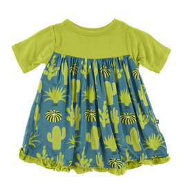 Kickee Pants Print Classic S/S Swing Dress Seagrass Cactus