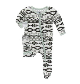 Kickee Pants Print Footie with Zipper Natural Mayan Pattern