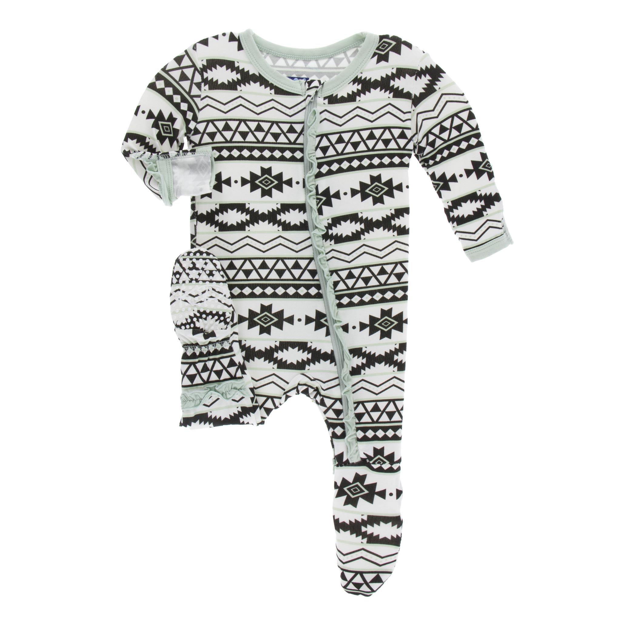 ab6da30c0 Kickee Pants Print Footie with Zipper Natural Mayan Pattern - Kicks ...