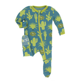 Kickee Pants Print Footie with Zipper Seagrass Cactus