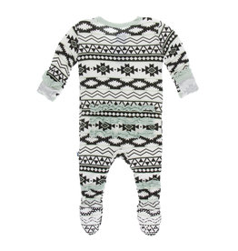 Kickee Pants Print Muffin Ruffle Footie with Zipper Natural Mayan Pattern