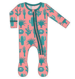 Kickee Pants Print Muffin Ruffle Footie with Zipper Strawberry Cactus