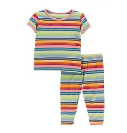 Kickee Pants Print S/S with Pant Pajama Set Cancun Strawberry Stripe