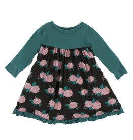 Kickee Pants Print Classic Long Sleeve Swing Dress English Rose Garden 4T