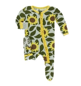 Kickee Pants Print Muffin Ruffle Footie with Zipper - Aloe Sunflower
