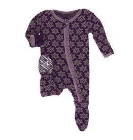 Kickee Pants Print Layette Classic Ruffle Footie with Zipper - Wine Grapes Saffron