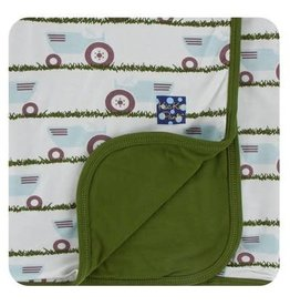 Kickee Pants Print Stroller Blanket - Natural Tractor and Grass