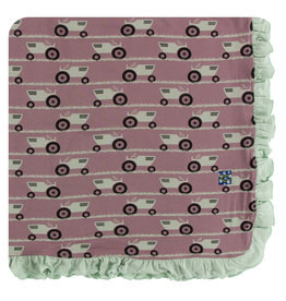 Kickee Pants Print Ruffle Stroller Blanket - Raisin Tractor and Grass