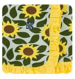 Kickee Pants Print Ruffle Toddler Blanket - Aloe Sunflower