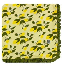 Kickee Pants Print Ruffle Toddler Blanket - Lime Blossom Lemon Tree