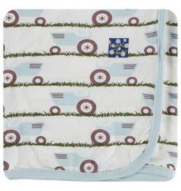 Kickee Pants Print Swaddling Blanket - Natural Tractor and Grass