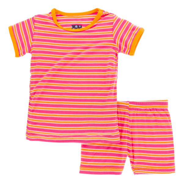 Kickee Pants Print Short Sleeve & Shorts Pajama Set - Flamingo Brazil Stripe 4T