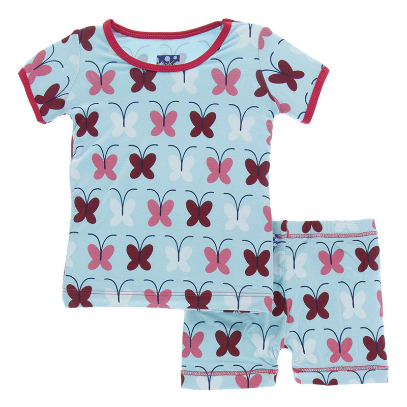 Kickee Pants Print Short Sleeve & Shorts Pajama Set - Tallulah's Butterfly 4T