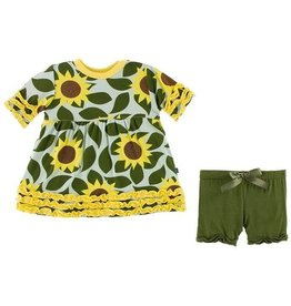 Kickee Pants Print Short Sleeve Babydoll Dress and Short Outfit Set - Aloe Sunflower - 18-24 Months