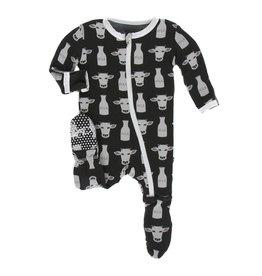 Kickee Pants Print Footie with Zipper - Zebra Tuscan Cow