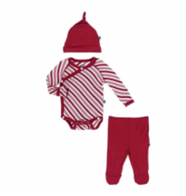 Kickee Pants Kimono Newborn Gift Set - Crimson Candy Cane Stripe Newborn