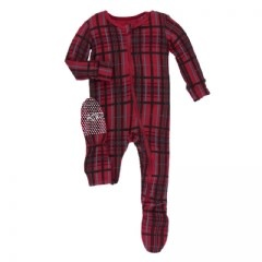 Kickee Pants Holiday Footie with Zipper: Christmas Plaid