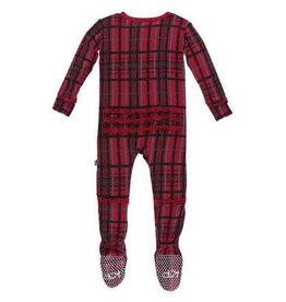 Kickee Pants Holiday Ruffle Footie with Zipper: Christmas Plaid NB Newborn