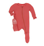 Kickee Pants Solid Footie with Zipper English Rose