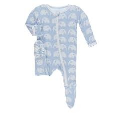 Kickee Pants Print Footie with Zipper - Pond Elephant