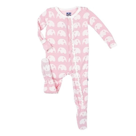 Kickee Pants Print Ruffle Footie with Zipper - Lotus Elephant 0-3M