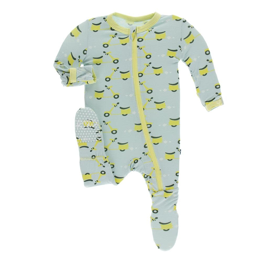 Kickee Pants Print Footie with Zipper - Spring Sky Scooter