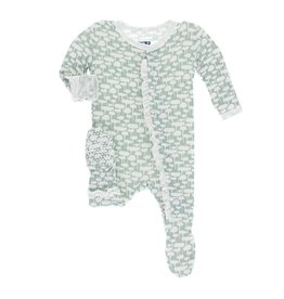 Kickee Pants Print Classic Ruffle Footie with Snaps Jade Mushrooms NB