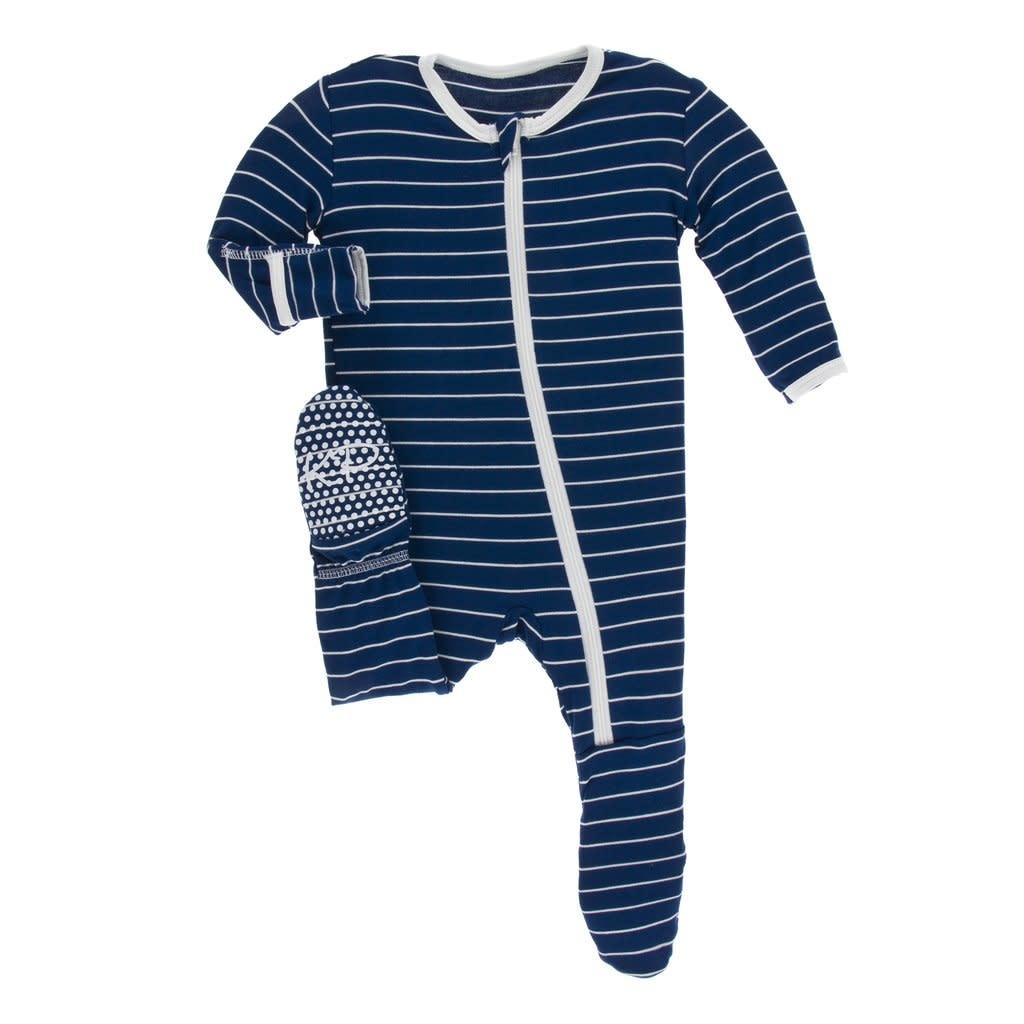 Kickee Pants Print Footie with Zipper Tokyo Navy Stripe NB Newborn