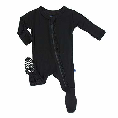 Kickee Pants Basic Muffin Ruffle Footie with Zipper - Midnight Solid 0-3M