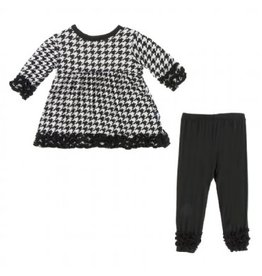 Kickee Pants Long Sleeve Babydoll Outfit Set Zebra Houndstooth 4T
