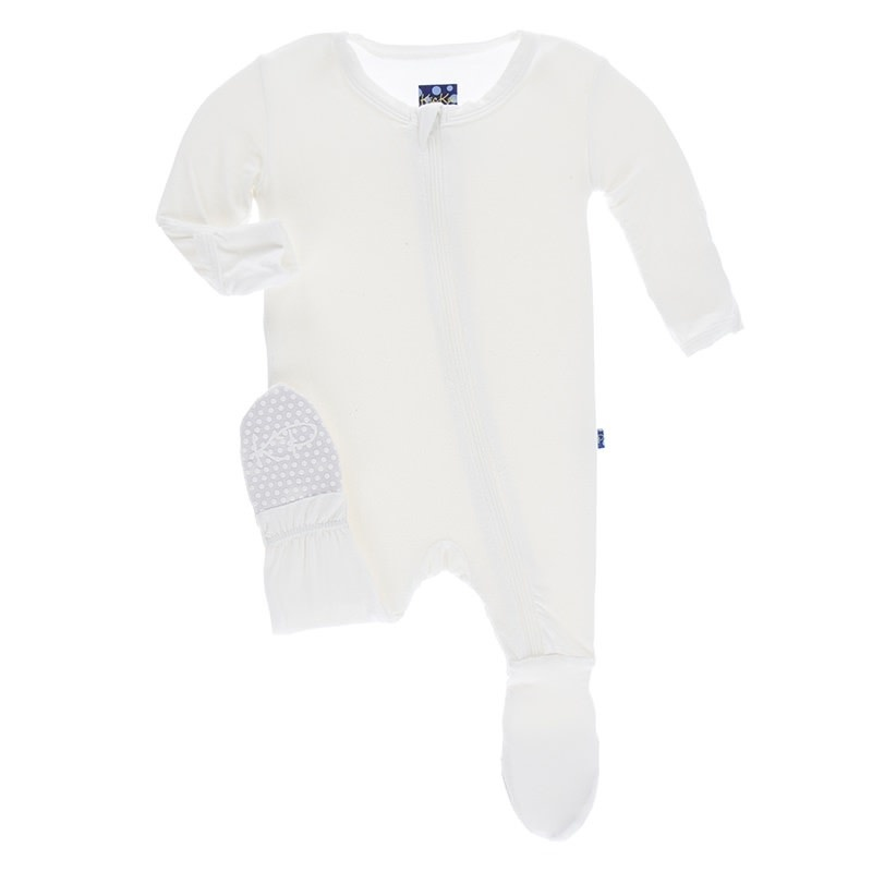 Kickee Pants Solid Basic Footie with Zipper in Natural 0-3M