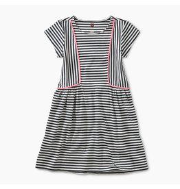 Tea Collection Pom Pom Striped Skirted Dress - Indigo