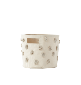 Pehr Designs Pompom Canvas Bin, Grey Pint