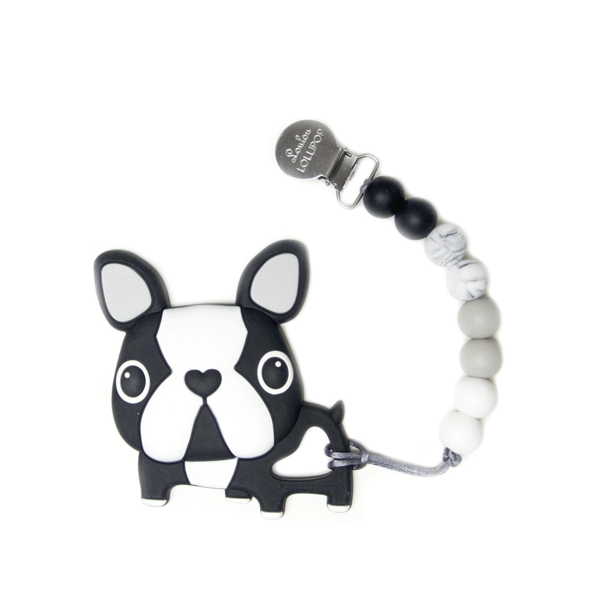 Lou Lou Lollipop Silicone Teether Set - Boston Terrier Dog Set