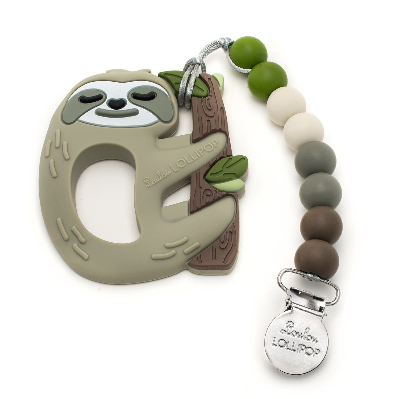 Lou Lou Lollipop Silicone Teether Set - Sloth Set