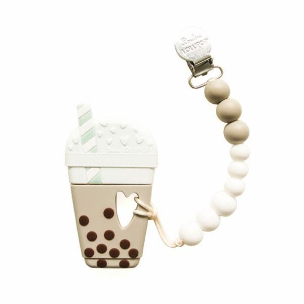 Lou Lou Lollipop Bubble Milk Tea Teether - Taupe Brown