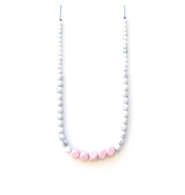 Lou Lou Lollipop Carrera Silicone Teething Necklace - Marble - Pink