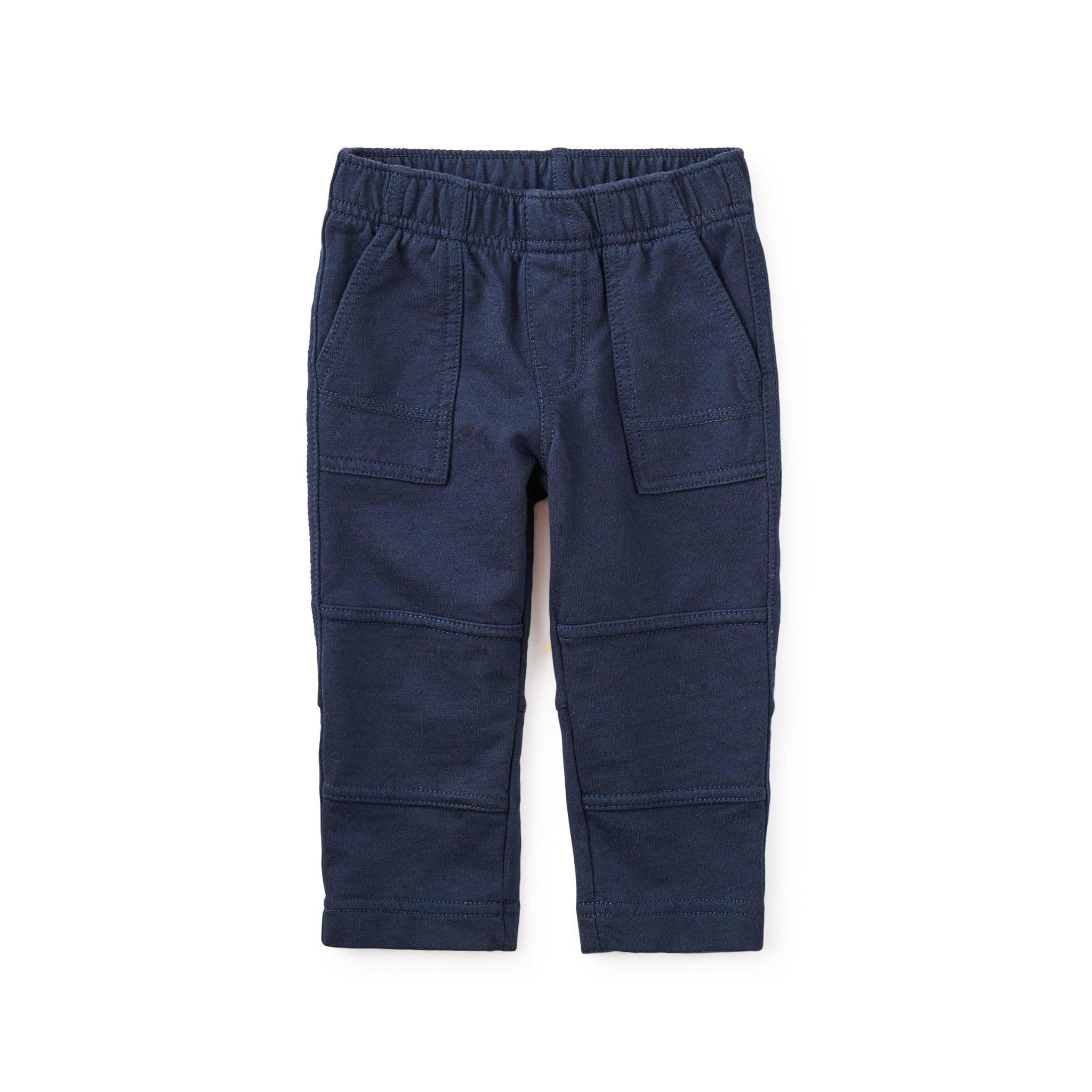 Tea Collection Boy Baby Knit Playwear Pants in Heritage Blue