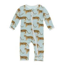 Kickee Pants Print Coverall with Zipper Spring Sky Tiger