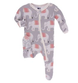 Kickee Pants Print Footie with Zipper Feather Indian Elephant