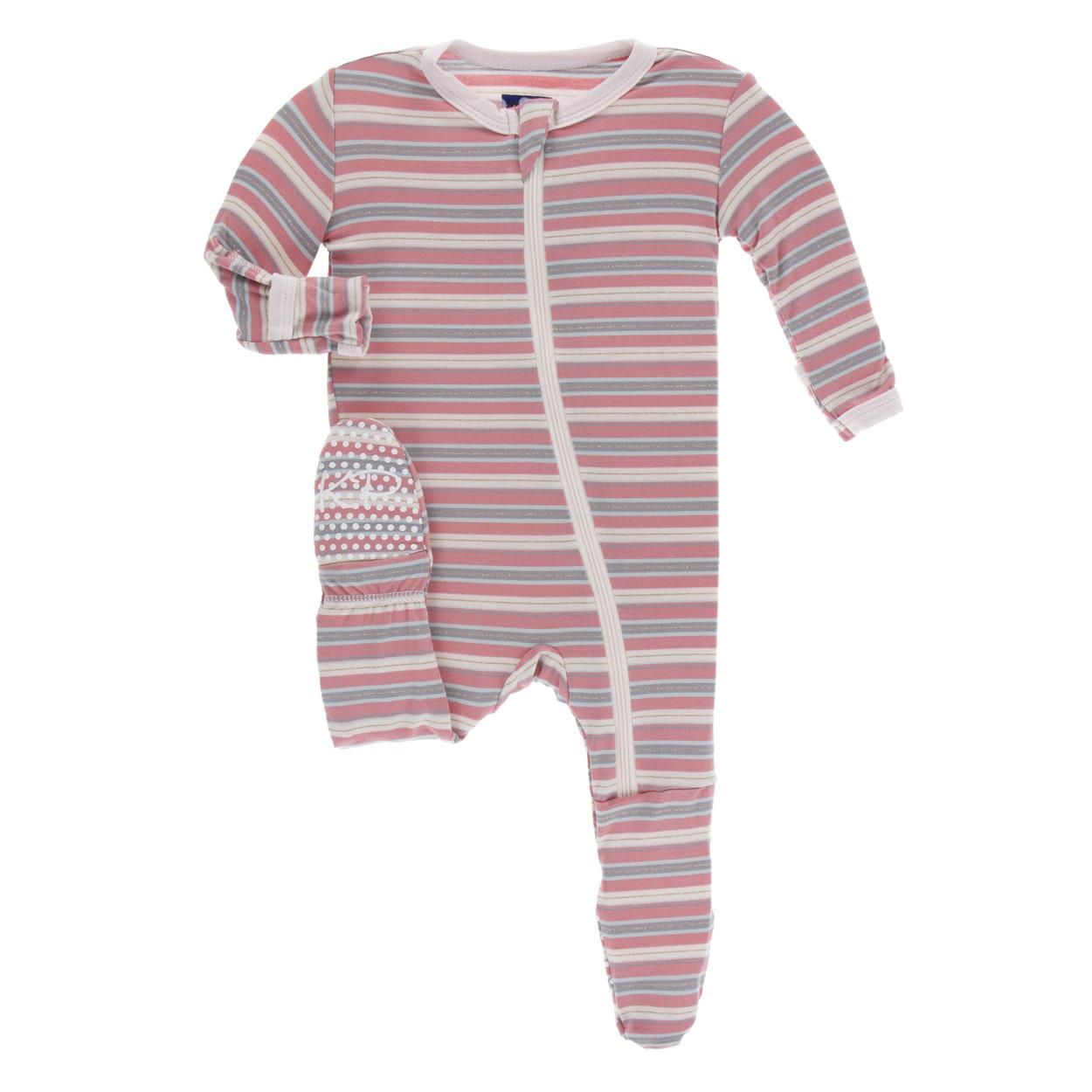 Kickee Pants Print Footie with Zipper India Dawn Stripe