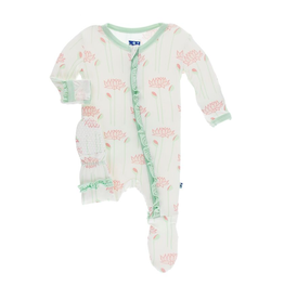 Kickee Pants Print Layette Classic Ruffle Footie with Zipper Natural Lotus Flower