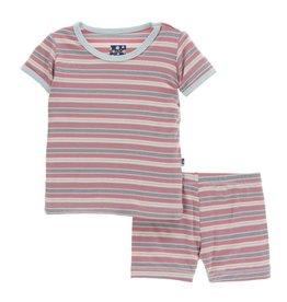 Kickee Pants Print Short Sleeve Pajama Set with Shorts India Dawn Stripe
