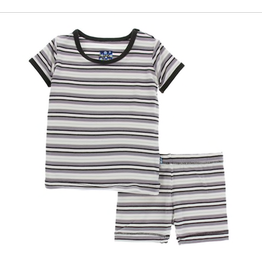 Kickee Pants Print Short Sleeve Pajama Set with Shorts India Pure Stripe