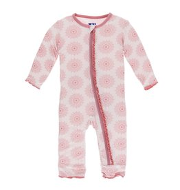 Kickee Pants Print Muffin Ruffle Coverall with Zipper Natural Lotus Flower